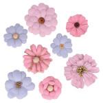 Fleurs en papier avec perles x 8 pces