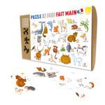 Puzzle en bois 12 pièces Alphabet animaux