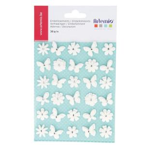 Fleur en papier et Papillons 30 pcs
