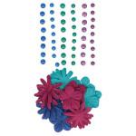 Fleurs en papier et perles adhésives Japan