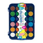 Gouache en pastilles 24 couleurs assorties et pinceau