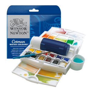 Aquarelle fine Cotman 12 demi-godets Boite Field Box Plus