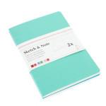 Lot de 2 carnets de croquis & notes 125 g delphinium/menthe - 14,8 x 10,5 cm (A6)
