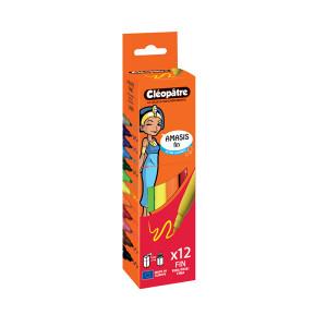 Feutres AMASIS fins boîte de 12 couleurs