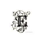 Tampon bois - Alphabet arabesque E - 2,5 x 2,1 cm