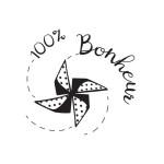 Tampon bois 100% Bonheur - 4 x 4 cm